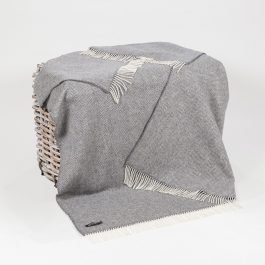 Merino and Cashmere Throw – Mid Grey