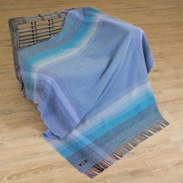Merino & Cashmere Throw – Purple and Blue
