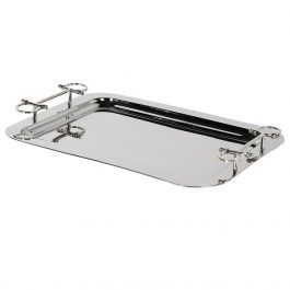 Nickle Tray with Stirrup Handles