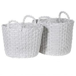 Set of 2 White Recycled Baskets
