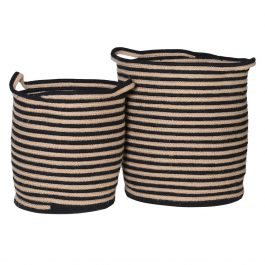 Set of Two Cotton Woven Stripe Baskets