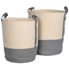 Set of Two Grey Natural Baskets