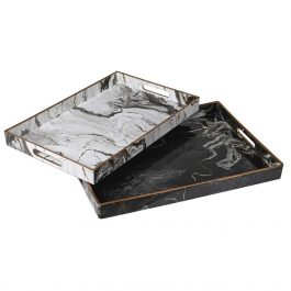 Set of Two Marble Effect Trays