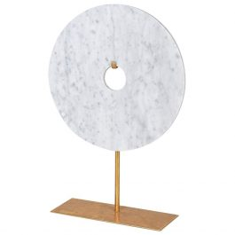 White Marble Disc On Stand