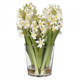 White Hyacinth Arrangement in Glass Pot Shaped Vase