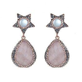 Bellatrix Earrings, Rose Quartz