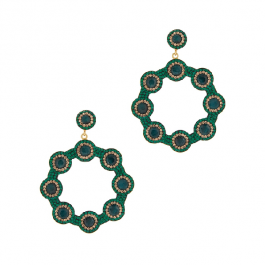 Emerald 18kt Gold-plated Hoop Earrings In Green