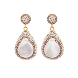 Baroque Pearl Earrings, Gold