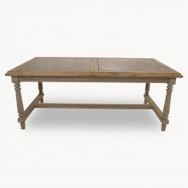 WOODCROFT OAK AND DOUBLE STONE INLAY DINING TABLE