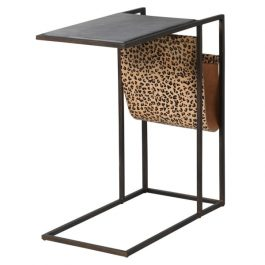 Black Marble and Leopard Print Hide Side Table