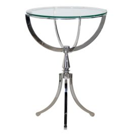 Stainless Steel and Glass Small Round Table