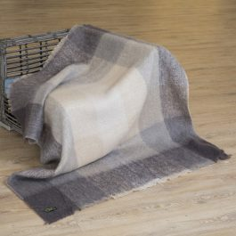 Mohair Throw Beige Grey Large Block