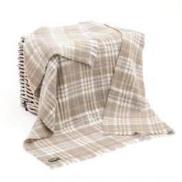 Mohair Throw White Taupe Plaid