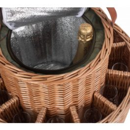 Garden Party Green Tweed Chilled Champagne Basket with glasses