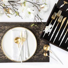 CUTIPOL Goa Cutlery Set – 24 Piece – Matt White Gold