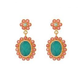 Aqua & Coral Flower Earrings
